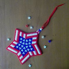 Plastic Canvas: USA Star Ornament Design No. by ReadySetSewbyEvie