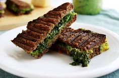 Grilled tri-cheese with kale & edamame pesto #food4thought