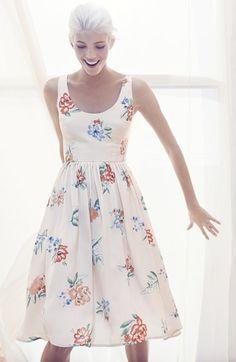 BB Dakota 'Heleen' Floral Print Fit & Flare Midi Dress   Nordstrom