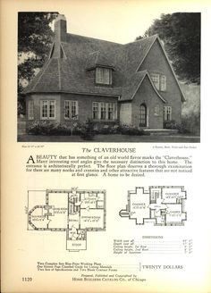 The CLAVERHOUSE - Home Builders Catalog: plans of all types of small homes by Home Builders Catalog Co. Published 1928