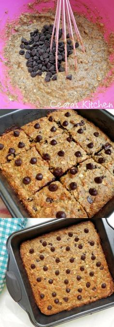 These Healthy Chocolate Chip Banana Bread Bars are flourless, hearty, soft and full of good-for-you and tasty ingredients. They come together in a cinch in one bowl. - Ceara's Kitchen #VEGAN #GLUTENFREE #HEALTHY #BANANABREAD #FLOURFREE