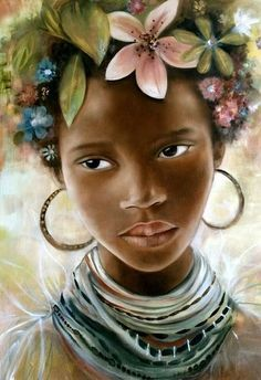 Claudia Tremblay was born in Canada (from Amos, Quebec). - Lorena Martinez Contreras - - Claudia Tremblay was born in Canada (from Amos, Quebec). African Girl, African American Art, African Princess, Claudia Tremblay, Art Amour, Images D'art, Girls With Flowers, Black Artwork, Art Et Illustration