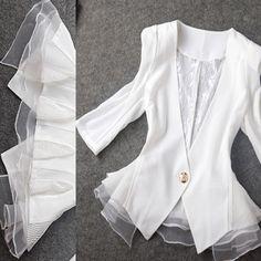 fall 2013 women designer fashion white slim chiffon patchwork lace half sleeve blazer peplum jacket $33.99