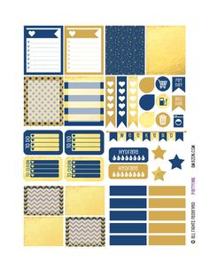 Monthly Planner Stickers - Blue and Gold Sampler 1 Planner Labels - Fits Erin Condren Life Planner - MP4883503149566 by partyINK on Etsy