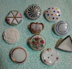 Vintage White Glass Buttons group #2 by BygoneButtonBoutique on Etsy