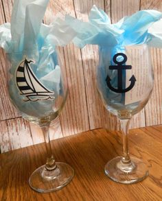 Nautical Theme Monogrammed Wine Glasses by PolkaDottedSunflower, $9.95