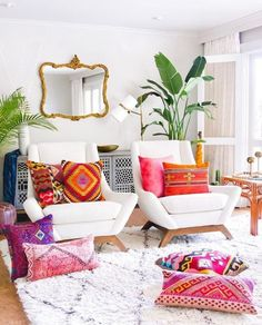 boho living room, brick wall, living room decor ideas, modern living room #livingroom