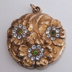 Antique Art Nouveau Gold Filled Crystal Green Rhinestone Flower Locket | eBay