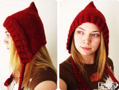 PosiTori: Free Knit Pattern: Autumn Pixie Hood - Maybe for Thanksgeeking Knitting Patterns Free, Knit Patterns, Free Knitting, Free Crochet, Knit Crochet, Crochet Hats, Crochet Pattern, Hood Pattern, Free Pattern