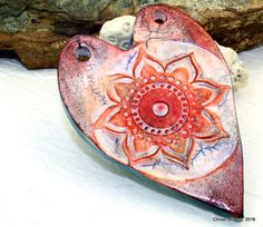 Polymer clay Handmade jumbo faux ceramic heart & flower pendant, 76mm, hippie, chic, boho, antiqued aged worn rustic, jewelry component