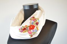 Items similar to Woman infinity scarf - circle scarf - loop scarf - hand embroidered - traditional matyo embroidery - white gauze with red on Etsy Loop Scarf, Circle Scarf, Infinity Scarfs, Womens Scarves, Floral Tie, Embroidery, Woman, Trending Outfits, Unique Jewelry