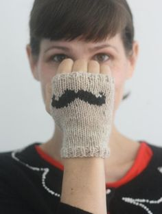(6) Name: 'Knitting : Mustache Mitts