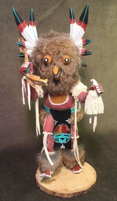 """Kachina Great Horned Owl Dancer Indian Doll Artist Signed Wood Fur 11 1/2""""   Collectibles, Cultures & Ethnicities, Native American: US   eBay!"""