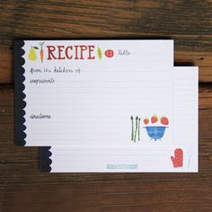 Fruits and Veggies Recipe Cards Set of 50