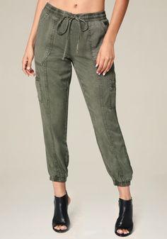 Bebe Petite Cargo Jogger Pants Pantalones c04d58418f97