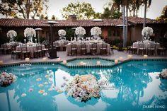 A jaw-dropping reception setting. (Florals by Karen Tran, Rancho Valencia Resort)