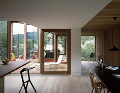 Ty Hedfan Modern Home in Wales, United Kingdom by Featherstone Young Wooden Windows, Windows And Doors, Living Room Modern, Living Spaces, Atrium House, Light Hardwood Floors, Floating House, Architect Design, Building A House