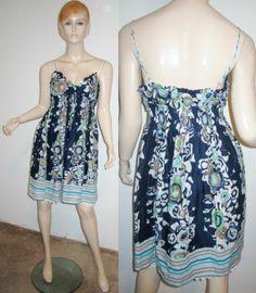 BCBG MAXAZRIA 100% Cotton Navy Floral Print Silk Lined Lace Hem Empire Dress M