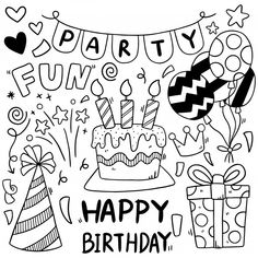 Easy Doodles Drawings, Easy Doodle Art, Simple Doodles, Happy Birthday Doodles, Banner Doodle, Birthday Coloring Pages, Bullet Journal Writing, Birthday Cards, Birthday Greetings