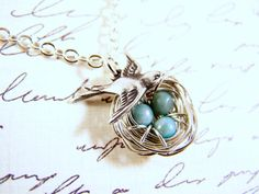 Soaring Love Bird Nest Necklace Three Speckled by TheNestingTrees, $22.00