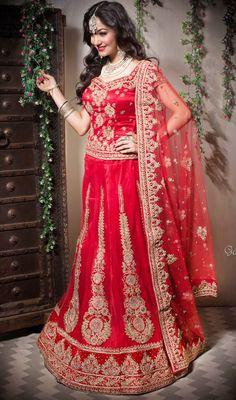 Red Net Embroidered Lehenga Choli Price: Usa Dollar $1139, British UK Pound £706, Euro897, Canada CA$1274 , Indian Rs61506.