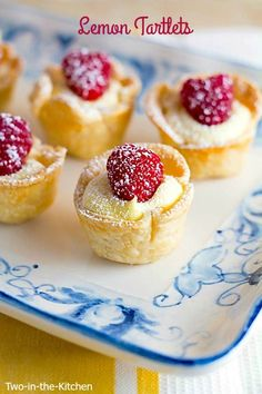 Tartlets - Two in the Kitchen Perfect for a tea party! Lemon Tartlets from our friend Renee at Two in the Kitchen.Perfect for a tea party! Lemon Tartlets from our friend Renee at Two in the Kitchen. Mini Desserts, Lemon Desserts, Lemon Recipes, Just Desserts, Sweet Recipes, Delicious Desserts, Yummy Food, Baking Recipes, Tea Party Desserts