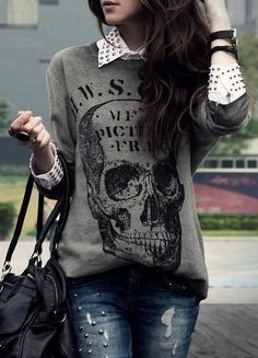 Everybody Knows I'm Obsessed With Skulls, But There Are Studs Incorporated Into This As Well, Perfection.
