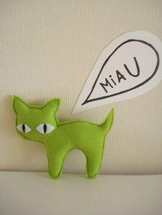 Fluor Green Kitten by cronopia6 on Etsy, $8.00