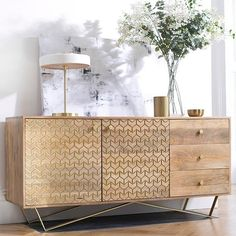 Bring bling to the farmhouse dining table for holidays : Chalfont Industrial Wood Sideboard Sideboard Dekor, Wood Sideboard, Dining Room Sideboard, Vintage Sideboard, Credenza, Painted Furniture, Modern Furniture, Furniture Design, Industrial Furniture