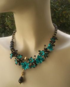 Turquoise jewelry - Polymer necklace and earrings - Lily jewelry via Etsy