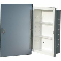 """Painted Liberty 16"""" x 22"""" Medicine Cabinet Shelf Type: 2 Adjustable Polystyrene, 1 Fixed White Steel by American Pride. $88.99. ST9606WHR1 Shelf Type: 2 Adjustable Polystyrene, 1 Fixed White Steel Features: -Medicine cabinet.-Door action: Swing.-Door style: White lacquered MDF louvered square top.-Body material: Steel.-Frame material: White lacquer MDF.-Hinges: 1 17"""" piano hinge tri brite galvanized.-Door catch: Magnetic catch with riveted striker plate.-Zinc plated hardware (..."""