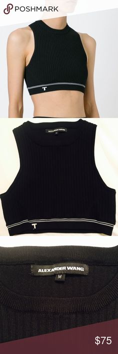 Alexander Wang Women's Black Rib Knit Cropped Top Alexander Wang Ribbed Black Crop Top. Gently worn. Great condition. Size medium. See pics for measurements Alexander Wang Tops Crop Tops