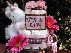 Unicorn Diaper Cakes   Pink and brown baby girl diaper cake