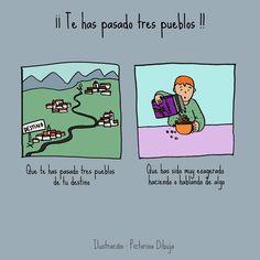Dibujos para niños con T.E.A. y sus padres.: Frase hecha: ¡¡Te has pasado tres pueblos!!