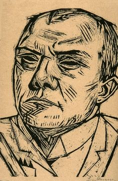 Max Beckmann - Self-Portrait  Woodcut, 1922. Tags: Face, man, Portrait, Human, Linocut, Cut, Print, Linoleum, Lino, Carving, Block, Woodcut, Helen Elstone.