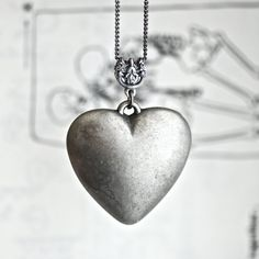 NEW  My GREY Heart necklace by blackpersimmons on Etsy, $18.00