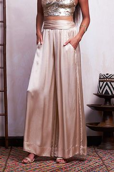 If quarantine taught us one thing, it's that comfort is cute and really quite stylish.  Like these satin pants: looks like you've put in effort, feels like you're waltzing around in your pj bottoms.  Perfect!  Item: Viscose Satin Pants  #ethicallymade #bohochic #vacationwear #resortwear #boholuxe #fashionideas #sustainablefashion #upcycle #worldfashion #ethicalfashion #summercollection #summerstyle #bohosummer #tonaloutfit #ootd #bohoinspired #balistyle #bohoboutique #boholook #zerowaste Bali Fashion, Ethical Fashion, Boho Boutique, Skirts For Sale, Boho Look, Wrap Style, Wide Leg Pants, Satin, Crop Tops