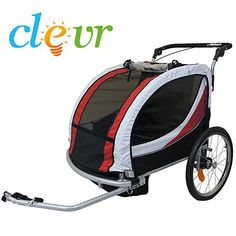 Clevr Collapsible 2 In 1 Double Bicycle Trailer Baby Bike Jogger Stroller Green With Suspension And 360 Pivot Front Wheel