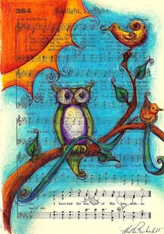 Sunlight, Owl sitting in a tree. Colored pencil drawing on a vintage book page.