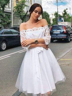 On Sale Splendid Homecoming Dresses With Sleeves, White Homecoming Dresses, Lace Homecoming Dresses, White Lace Homecoming Dresses Best Formal Dresses, Dresses Short, Sweet 16 Dresses, Formal Prom, Long Sleeve Homecoming Dresses, Cheap Homecoming Dresses, Dress Prom, Cheap Dresses, Simple Dresses
