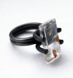 Oxidized Sterling Silver Ring. Dendritic Quartz. by mariagotijoyas, €192.00
