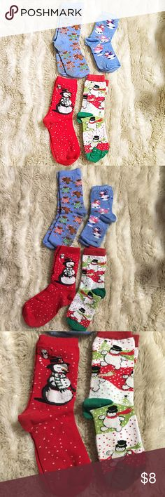 Colorful Christmas Socks Bundle Bundle of 4 pairs of Christmas socks.. The two blue pairs do have some staining on the bottoms but all are gently used. #bundle #socks #christmas #holiday #festive #santa #reindeer #snowflake #snowman #candycane #gingerbread #christmastree #fun #punkydoodle  No modeling Smoke and pet free home I do discount bundles Shoes