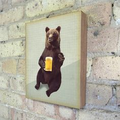 "Bears Love Beer now featured on Fab.Archival print mounted on stained birch wood block L 1.50"" W 8"" H 10"""