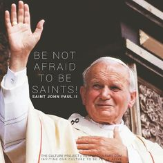 """""""Be not afraid to be saints."""" - Saint John Paul II 🔻 Who is someone that has challenged you to be a saint? Catholic Quotes, Catholic Prayers, Catholic Saints, Roman Catholic, Pope John Paul Ii, Paul 2, Papa Juan Pablo Ii, Saint Quotes, St John Paul Ii"""