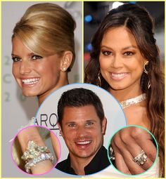 WHO GOT THE BETTER RING? Nick Lachey proposed to Jessica Simpson in February 2002, with a pear-shaped diamond. The second time around, Lachey stepped up his game. In November 2010, he asked Vanessa Minnillo to marry him with a 4 carat Asscher-cut diamond ring surrounded by baguettes—estimated to cost $ 125,000—designed by New York City jeweler David Bader of Bader & Garrin.