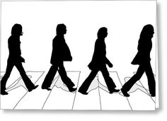 The Beatles Abbey Road Silhouette Drawing Greeting Card by Anthony Timmons