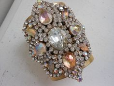 Couture rhinestone cuff brass bracelet large by 2007musarra, $125.00