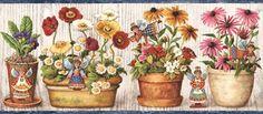 Interior Place - Blue Cream Wooden Flower Pot Angels Wallpaper Border, $12.99 (http://www.interiorplace.com/blue-cream-wooden-flower-pot-angels-wallpaper-border/)