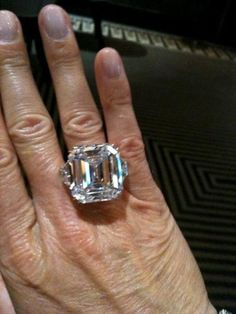 trying on a 40 carat diamond ring at Harry WInston Beverly Hills - just need 6 bodyguards to wear it - amazing jewel