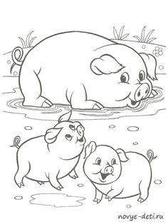 Раскраска с образцами Домашние животные Farm Animal Coloring Pages, Easy Coloring Pages, Disney Coloring Pages, Coloring Pages For Kids, Coloring Books, Art Drawings For Kids, Art Drawings Sketches, Cartoon Drawings, Animal Drawings